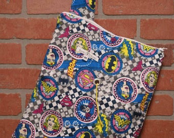 Medium Knitting Bag, Crochet, Knit, Yarn, Wool, Wonder Woman, Flannel, Yarn Storage, Yarn Bag with Hole, Grommet, Handle, MYB20