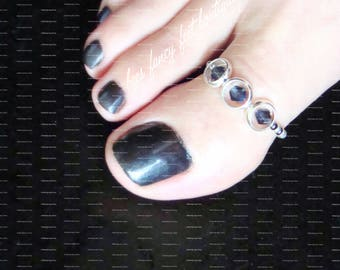 Big Toe Ring | Smokey Blue Black Crystals | Hematite | Silver Ring Charms | Stretch Bead Toe Ring