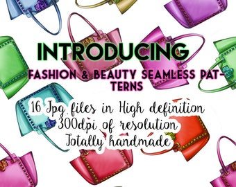 INSTANT DOWNLOAD - Beauty and fashion seamless Patterns - 16 High Resolution Jpges Files