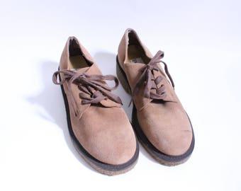 Tan Suede Grunge Oxford Tie Shoes