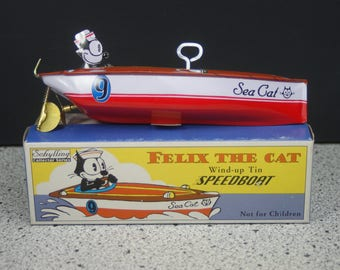 Schylling Felix the Cat Tin Wind Up Speed Boat In Box - 1997 Colllector Series NIB