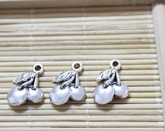 35 cherry fruit pendant charms antique silver