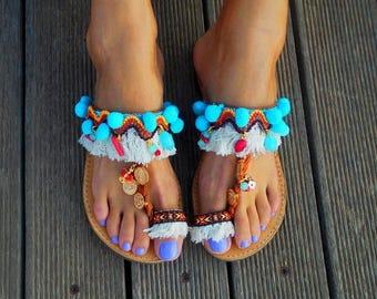 25% Off Ethnic Sandals ''Gypsy Queen'', Pom Pom Sandals, Bohemian Sandals, Oriental Sandals, Fringed Sandals