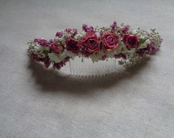 Dried flowers pink and white half hair crown on comb back head piece summer romantic garden wedding bridal hair decor