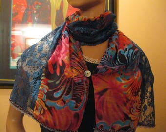 "scarf is hand - lace and fabric - red blue - ""lobelia"""