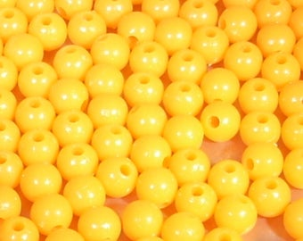 10 plastic orange beads 8mm round