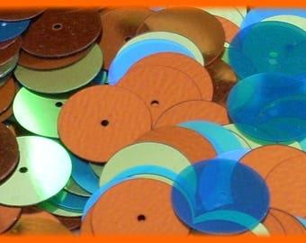 Applique for sew yellow, orange, Blue 10mm, 7gr