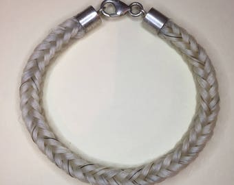 Horse hair bracelet with Sterling silver fillting **plus free keyring