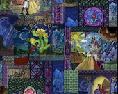 Beauty and the Beast Stained Glass Fabric BTY Best Price Around - IN STOCK