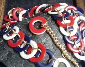 vintage 1960s red white and blue belt, chain link belt, plastic, patriotic belt, 4th of July, mod, 60s, 70s belt, one size, festival belt
