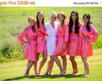ON SALE Coral Embroidered Bridesmaid Robe Sets, Coral Kimono Robe, Bridal Party Coral Pink Robes, Coral Satin Robe, Embroidered Wedding Robe
