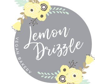 Premade Logo Design  |  Circle logo  |  Floral Logo  |  Shabby Chic Logo | Watermark | Etsy Branding | Branding Package | Baking Logo