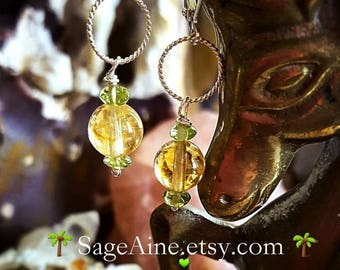 SageAine: Citrine Spheres with Peridots Silver Earrings, Abundance Stone, Reiki Charged, Solar Plexus, Heart Chakras, Gift for her