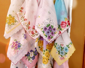 5 New Vintage styled Cotton Hankies for Crafts N Display