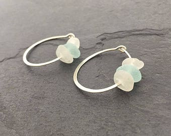 Aqua Sea Glass Hammered Circle Earrings