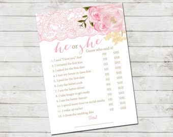 He or She Who Said It Game - Lace and Flowers Bridal Shower - Bridal Shower Game - Blush Pink and Tan - INSTANT DOWNLOAD - Printable