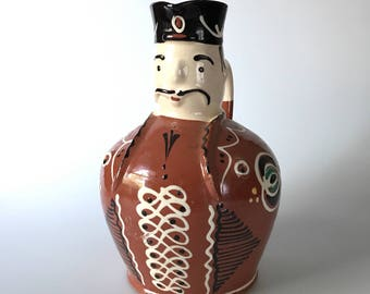 Wonderful Red Clay Glazed Pitcher With Mans Face
