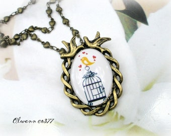 Vintage bird cage OLWENN CO377 style necklace