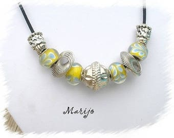 Summer necklace yellow and silver glass beads * MARIJO *.