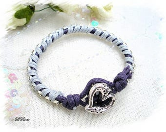 Purple braided bracelet grey Rhinestone Heart BR735