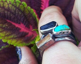 Gemstone Stacker Rings- Tourmaline,Imperial Topaz and Turquoise