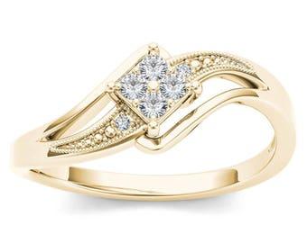 10Kt Yellow Gold 0.10 Ct Diamond Engagement Ring