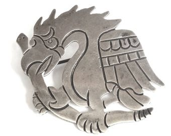SERAFIN MOCTEZUMA Early 1930s Eagle & Serpent Taxco Mexico Signed 980 Silver Brooch – Spratling Style - Mexico Sterling - Taxco Sterling