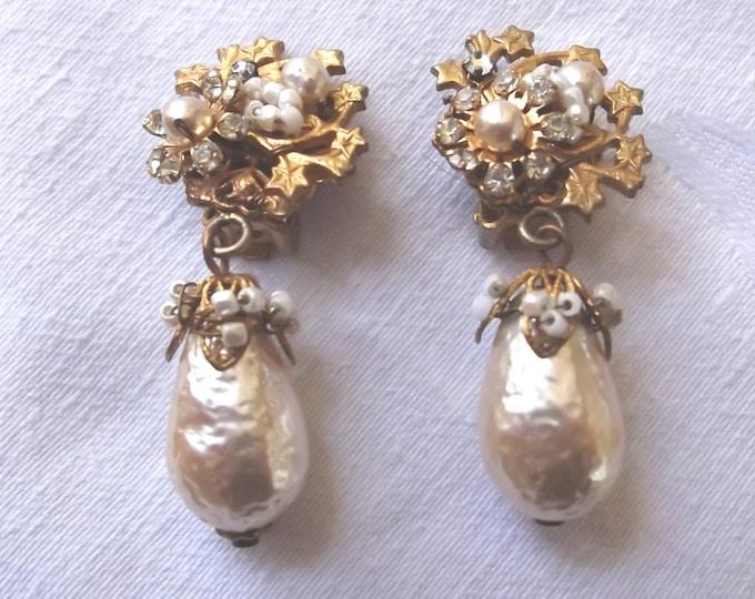 Miriam Haskell Baroque Pearl Earrings, Vintage Clip Earrings, Seed Pearls and Rose Montees