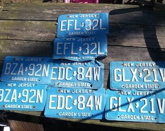 8 pc ( 4 Matching Sets) Salvaged Vintage 1980's  Blue NJ New Jersey License Plates Liscense Licsence Lisense Plates