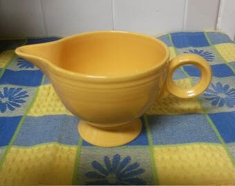 Antique Vtg 1936 FIESTA FIESTAWARE Old Yellow Ring Handle Creamer Homer Laughlin - GORGEOUS