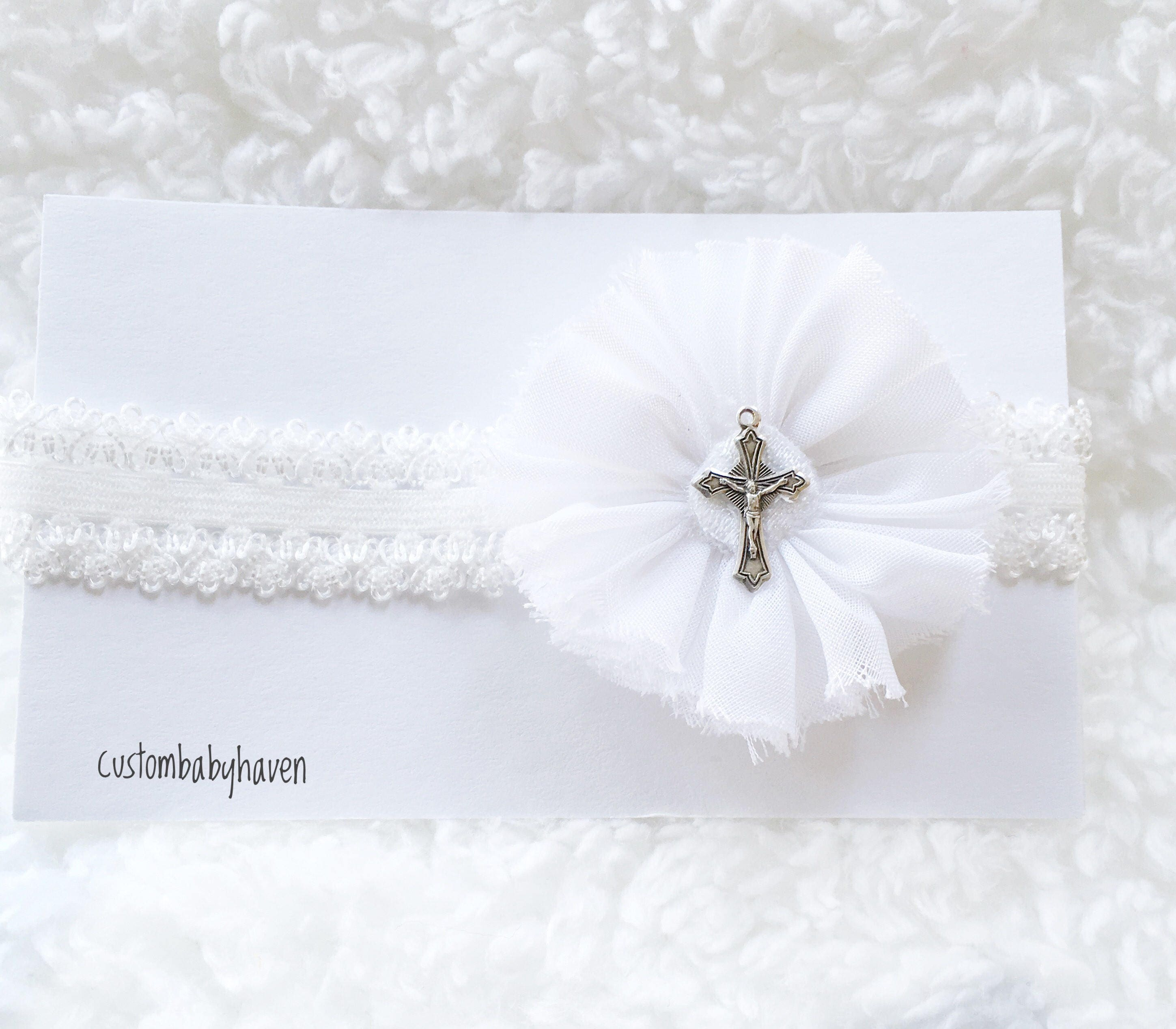 Headband With Cross Baby Christening Headband Baptismal Headband