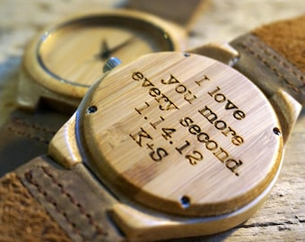 Bamboo wood Watch / Personalized Watch - engraved with personal text - Gift for Him/Her, Anniversary, Weddings gift, Groomsmen / bridesmaid