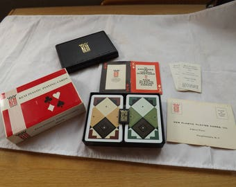 Rare Find KEM Plastic Playing Cards and Case and directions
