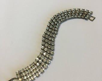 Vintage Rhinestone Multi-Row Bracelet Fold Over Clasp 1.11.2