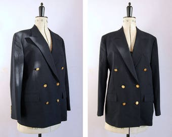 Vintage 1980s 90s Brooks Brothers navy wool gold buttons double breasted blazer jacket - 80s tailored jacket - 80s blazer - 80s Power dress