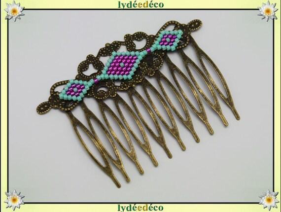 Vintage wedding hair comb Japanese brass rose green glass beads