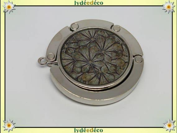 Bag retro gray beige Brown leaves in resin on metal silver hook