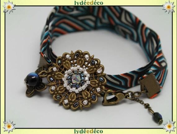 Bracelet ethnic print liberty Fleur orange African turquoise beads black white Japanese Glass Butterfly brass bronze
