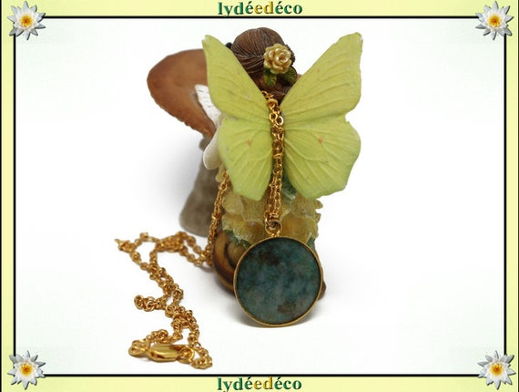 Necklace Golden brass gold 24 carat 24 k Brown Green Butterfly resin