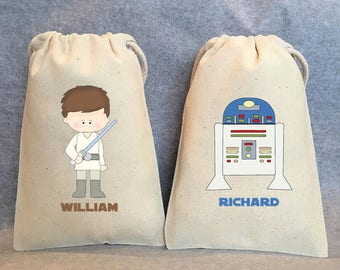 """10- Star Wars Party, Star Wars party Favor Bags,Star Wars favors, Yoda, Leia, Vader, Chewbacca, Hans Solo, R2D2, , 5""""x8"""""""