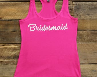 Bridesmaid Tank Tops, Bachelorette Party, Bridal Party Shirts Tees, Bridesmaid Gifts,Bridesmaid Tanks,Getting Ready, Jersey Racerback