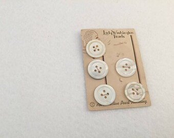 Vintage Buttons , Mother of Pearl, White Buttons, White Pearl Buttons, MOP Buttons, Lady Washington, 5 buttons, Buttons on Card