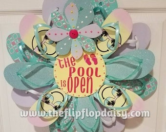 "Beautiful ""The Pool is Open"" Flip Flop Wreath Wall Door Decor Beach Ocean Unique Gift Summer Fun Florida Patio"