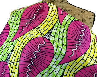 African Fabric--African Wax Print Fabric--Ankara Fabric--Dutch Wax Print--Pink/Green/Yellow Giant Leaves--African Fabric by the HALF YARD