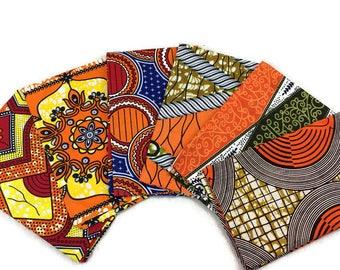 African Wax Print Fabric--FAT QUARTER BUNDLE--Orange Assortment--Assorted Color/Assorted Patterns Prints--6-Pack Fat Quarter Bundle