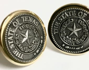Texas State Seal Cuff Link Two Tone