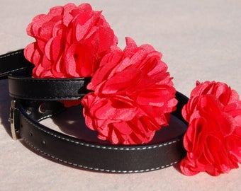 Red flower dog collar.Red flower dog collar!Modern dog collar,Dog Christmas collar .Birthday party dog collar.red flower collar, Dog gift