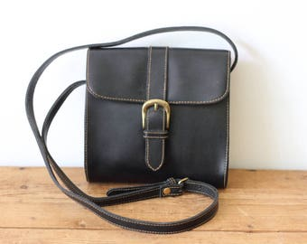 Vintage G.H. BASS Small Black Leather Saddle Bag/ Mini Leather Crossbody Handbag/ Small Leather Purse 061418