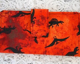 Womens Fold Over Wallet, Orange Dinosaur Cloth Wallet, Credit Card Holder, Checkbook Holder, Zippered Coin Wallet