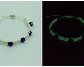 Glow in the Dark Paracord and Purple Lego Round Bracelet